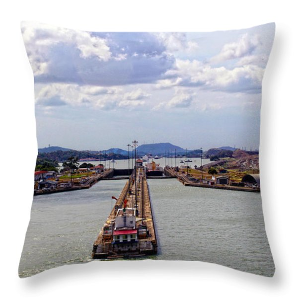 Pedro Miguel Lock 2 Panama Canal Throw Pillow by Kurt Van Wagner