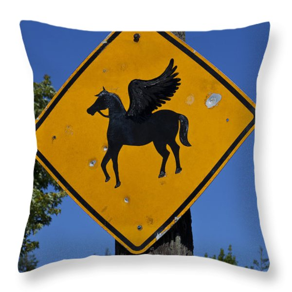 Pegasus road sign Throw Pillow by Garry Gay