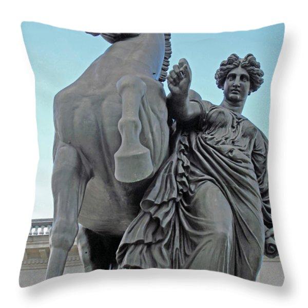 Pegasus Tamed Throw Pillow by Barbara McDevitt