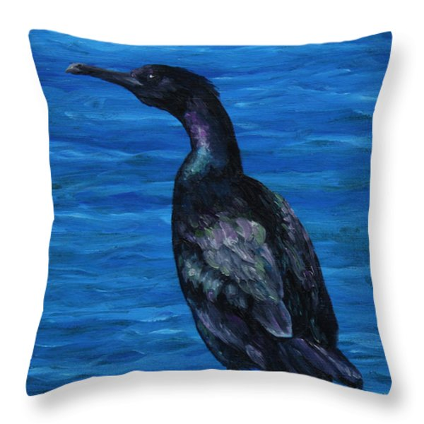 Pelagic Cormorant Throw Pillow by Crista Forest