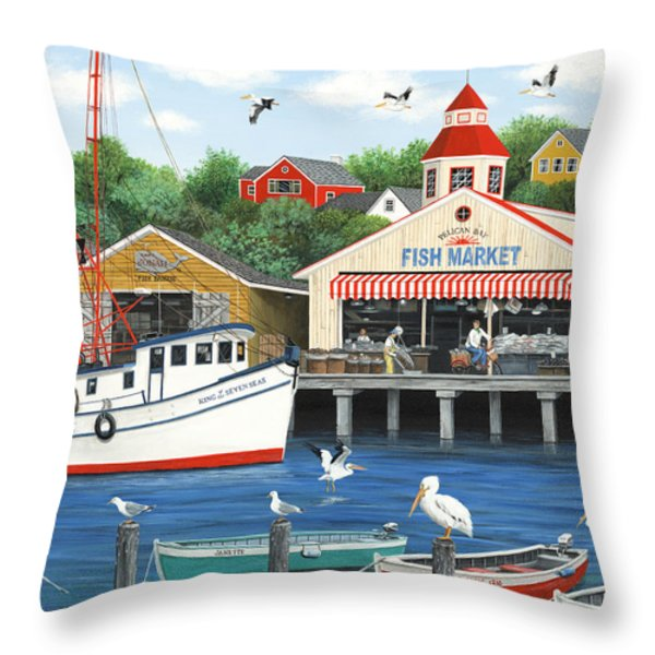 Pelican Bay Throw Pillow by Wilfrido Limvalencia
