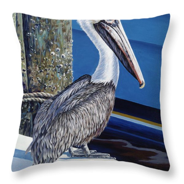 Pelican Blues Throw Pillow by Danielle  Perry