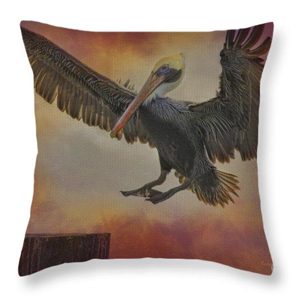 Pelican Grace Throw Pillow by Deborah Benoit