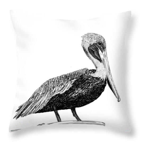 Pelican of Monterey Throw Pillow by Jack Pumphrey