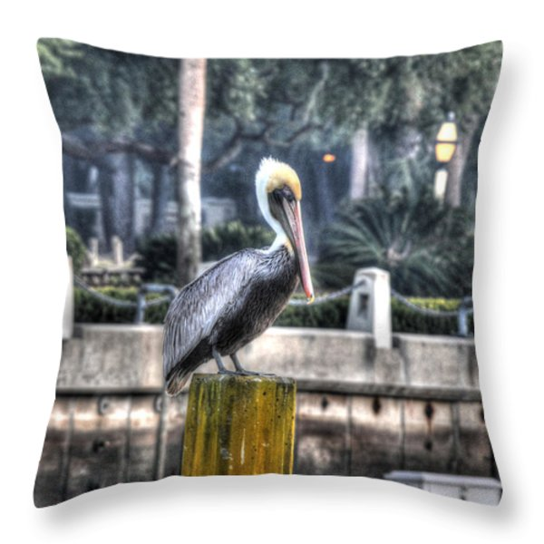 Pelican On Water Post Throw Pillow by Dan Friend