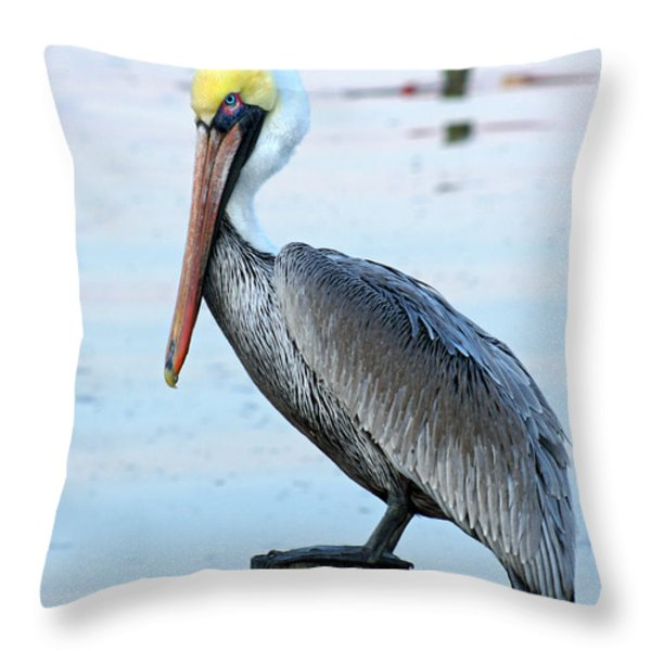 Pelican Perch Throw Pillow by Benanne Stiens