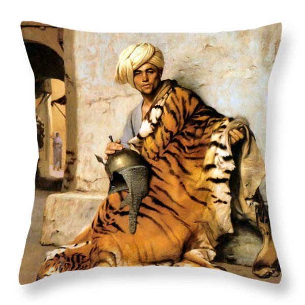 Pelt Merchant  Throw Pillow by Jean Leon Gerome