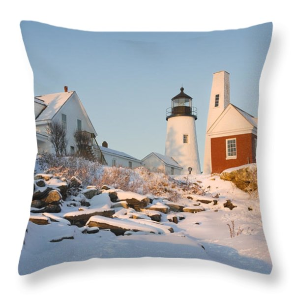 Pemaquid Point Lighthouse Winter In Maine  Throw Pillow by Keith Webber Jr