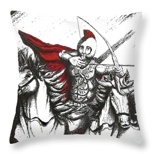 Pen And Ink Drawing Of Soldier With Horses Throw Pillow by Mario  Perez