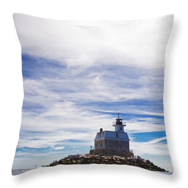 Penfield Reef Lighthouse Fairfield Connecticut Throw Pillow by Stephanie McDowell