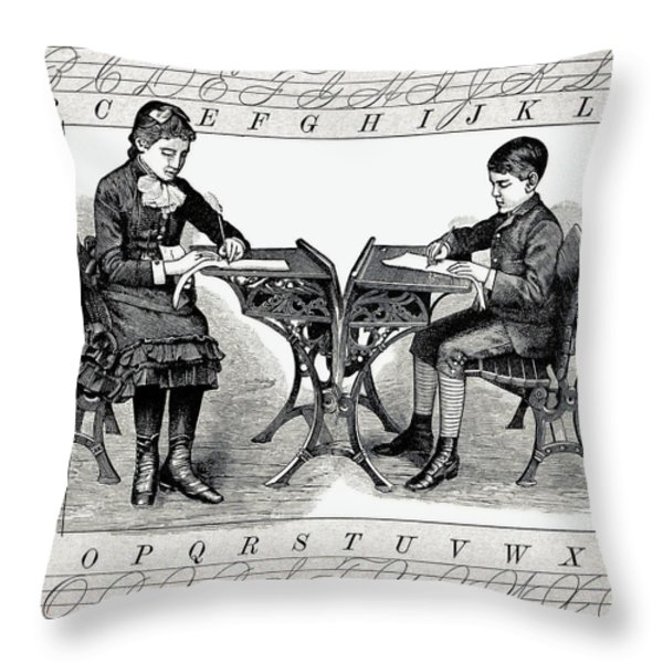 PENMANSHIP Throw Pillow by Daniel Hagerman