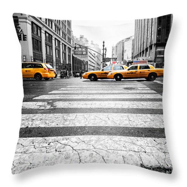 Penn Station Yellow Taxi Throw Pillow by John Farnan