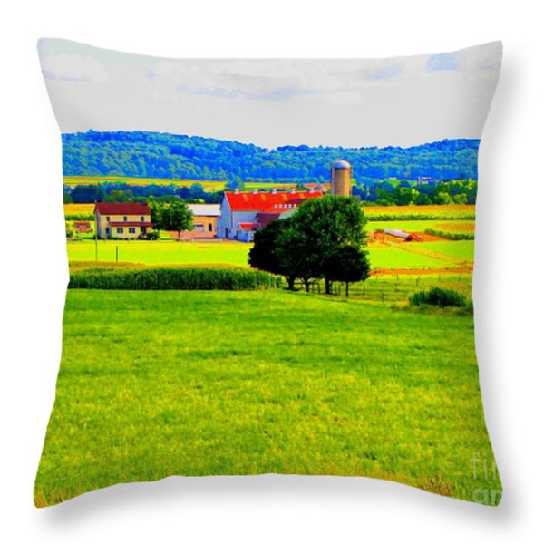 Pennsylvania Farm Throw Pillow by Annie Zeno
