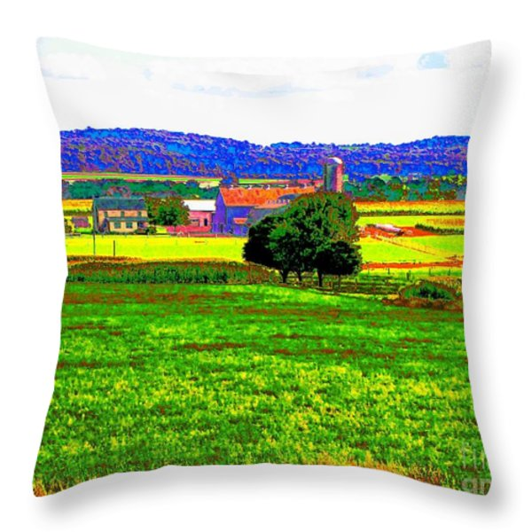 Pennsylvania Farm II Throw Pillow by Annie Zeno