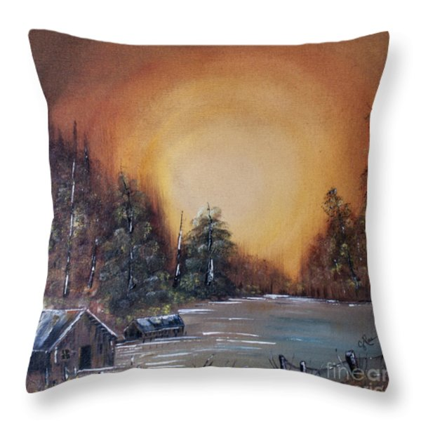 Pennsylvania Shenango Dawn In Oil Throw Pillow by Janice Rae Pariza