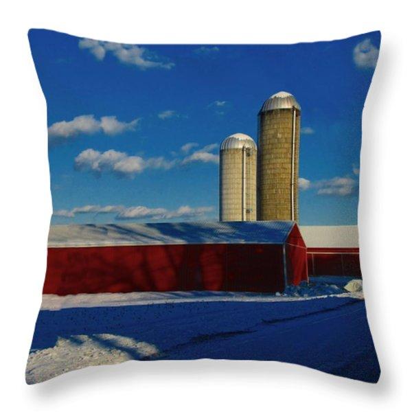 Pennsylvania Winter Red Barn  Throw Pillow by David Dehner