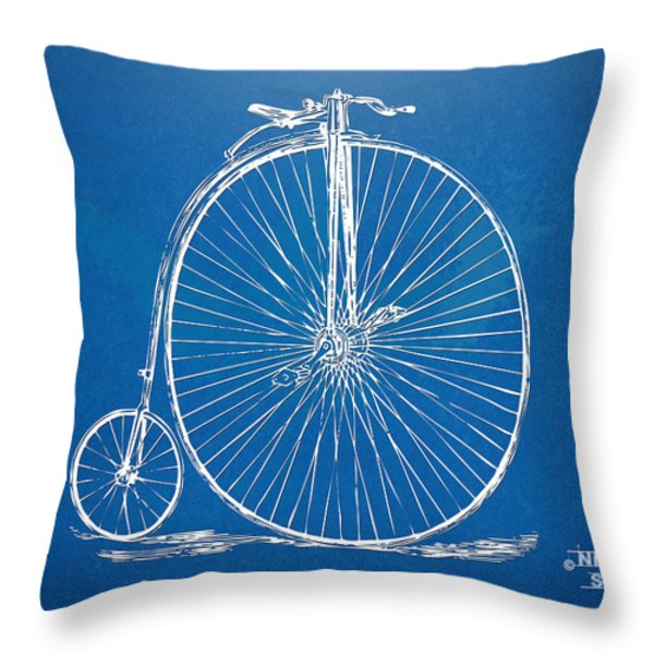 Penny-Farthing 1867 High Wheeler Bicycle Blueprint Throw Pillow by Nikki Marie Smith