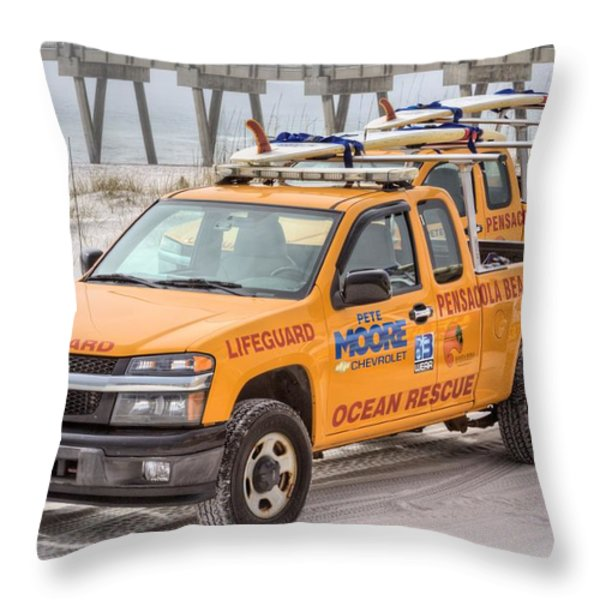Pensacola Beach Lifeguards Throw Pillow by JC Findley