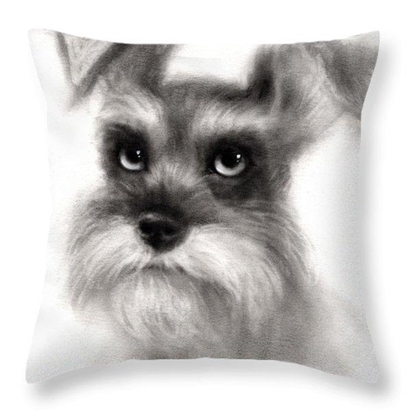 Pensive Schnauzer Dog painting Throw Pillow by Svetlana Novikova