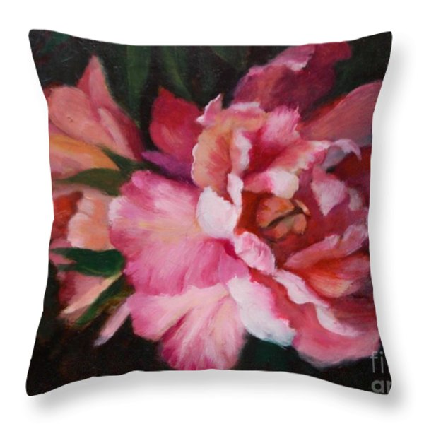 Peonies No 8 The Painting Throw Pillow by Marlene Book