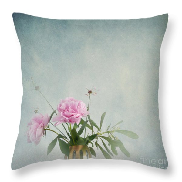 Peonies Still Life Throw Pillow by Artskratches