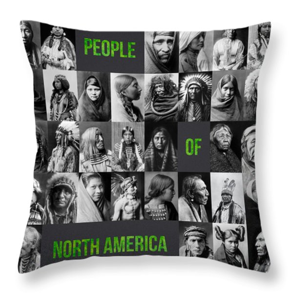 People Of North America Throw Pillow by Aged Pixel