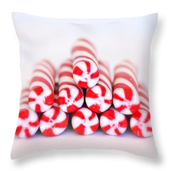 Peppermint Twist - Candy Canes Throw Pillow by Kim Hojnacki