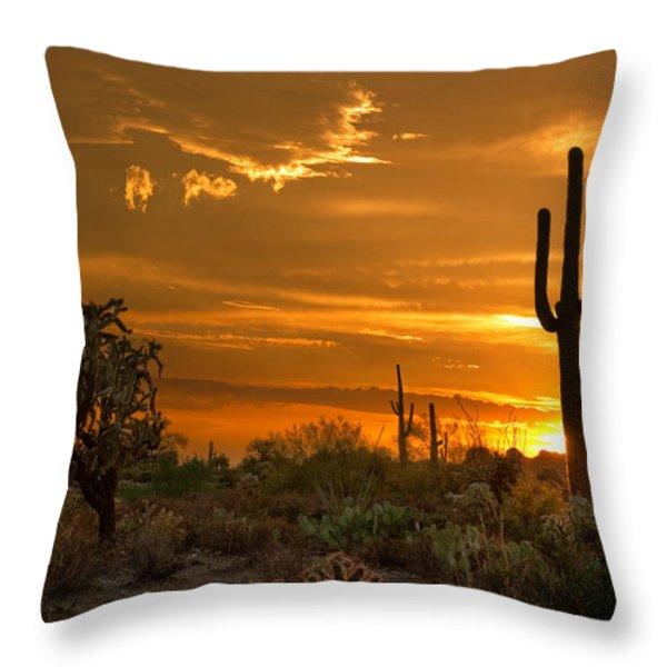 Peralta Arizona Sunset Throw Pillow by Dave Dilli