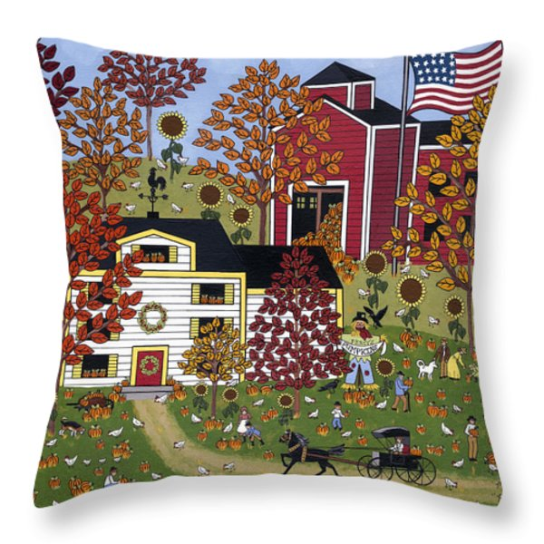 Percy's Pumpkin Patch Throw Pillow by Medana Gabbard