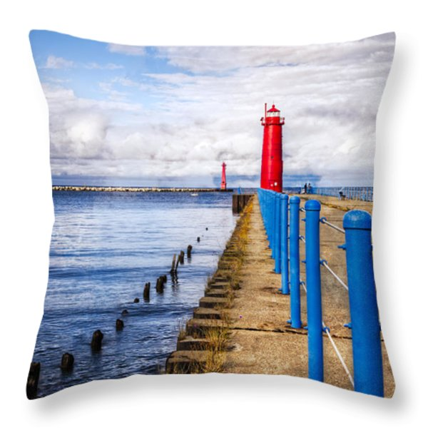 Pere Marquette Throw Pillow by Debra and Dave Vanderlaan