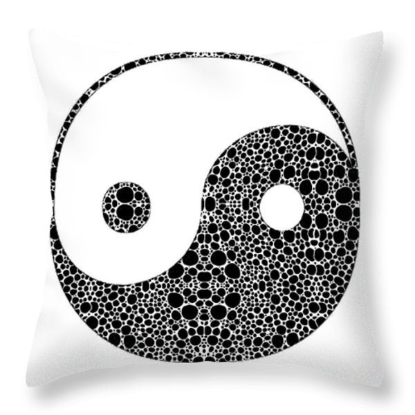 Perfect Balance 1 - Yin and Yang Stone Rock'd Art by Sharon Cummings Throw Pillow by Sharon Cummings
