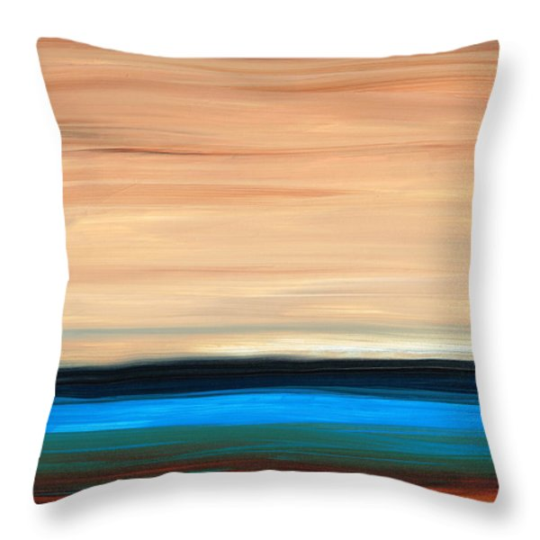 Perfect Calm - Abstract Earth Tone Landscape Blue Throw Pillow by Sharon Cummings