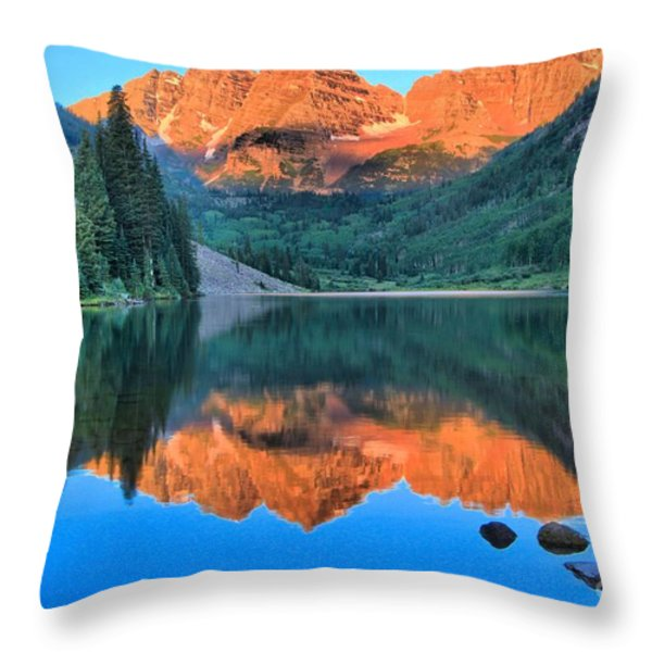Perfect Reflections At The Bells Throw Pillow by Adam Jewell