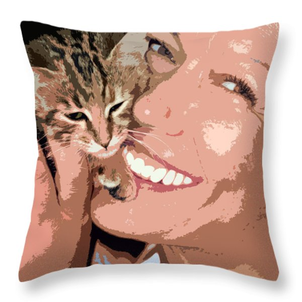 perfect smile Throw Pillow by Stylianos Kleanthous