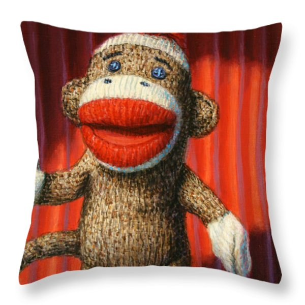 Performing Sock Monkey Throw Pillow by James W Johnson