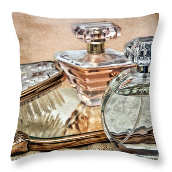 Perfume Bottle Ix Throw Pillow by Tom Mc Nemar