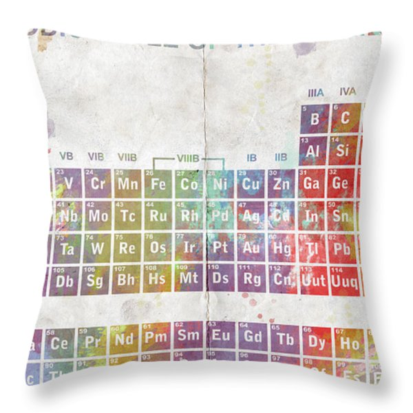 Periodic Table of The Elements Throw Pillow by Paulette B Wright