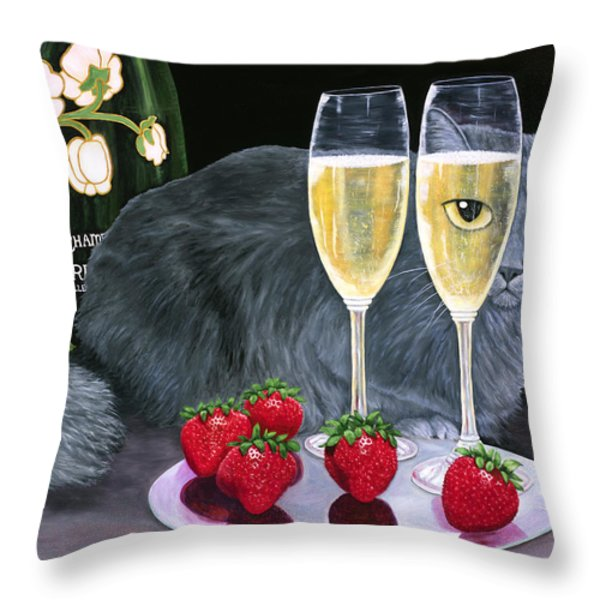 Perrier Jouet Et Le Chat Throw Pillow by Karen Zuk Rosenblatt