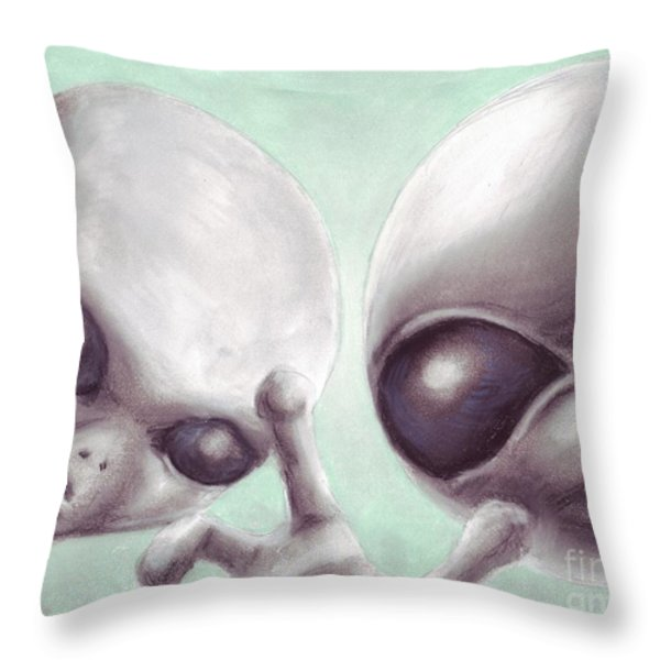 Personal Space Invaders Throw Pillow by Samantha Geernaert