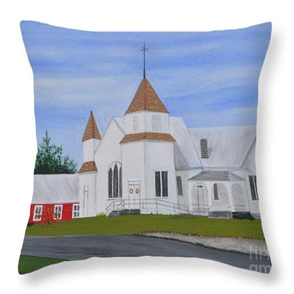 Peru Congregational Church Throw Pillow by Sally Rice