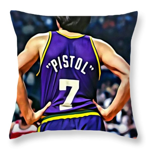 Pete Maravich Throw Pillow by Florian Rodarte