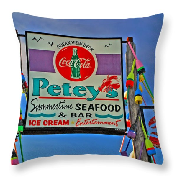 Petey's Seafood Throw Pillow by Joann Vitali