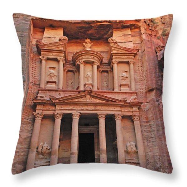 Petra Treasury Throw Pillow by Tony Beck