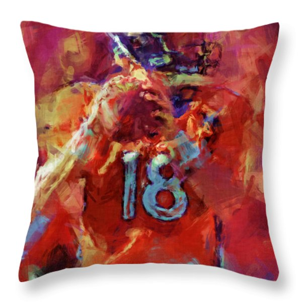 Peyton Manning Abstract 3 Throw Pillow by David G Paul