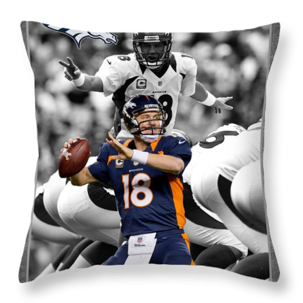 PEYTON MANNING BRONCOS Throw Pillow by Joe Hamilton