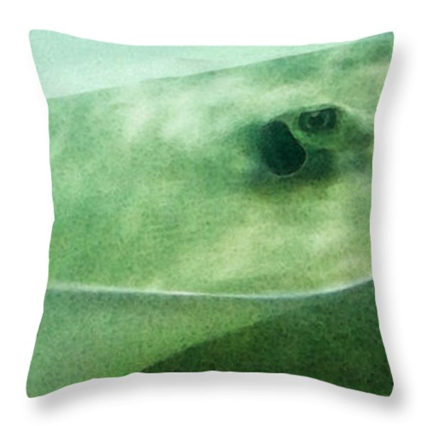 Phantom - Manta Ray Art By Sharon Cummings Throw Pillow by Sharon Cummings