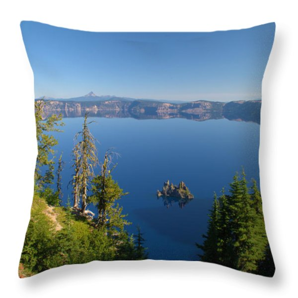 Phantom Ship Island In Crater Lake Throw Pillow by Brian Harig