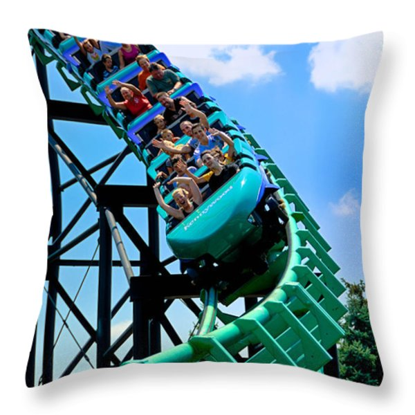 Phantoms Revenue Steel Roller Coaster Kennywood Park Throw Pillow by Amy Cicconi