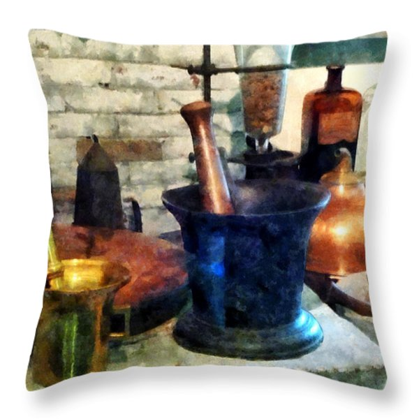 Pharmacist - Three Mortar and Pestles Throw Pillow by Susan Savad