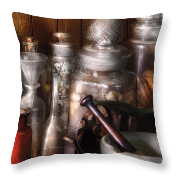 Pharmacist - Tools of the Pharmacist  Throw Pillow by Mike Savad